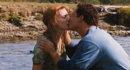 Hagar Currie (Christine Horne) and Bram Shipley (Cole Hauser) falling in love